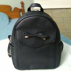 Handbags - Black Faux Leather Backpack